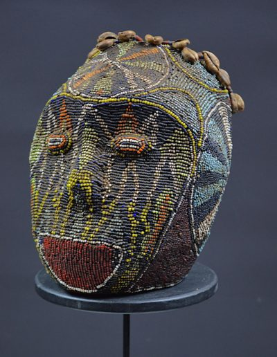 Bamileke Beaded Atwonzen Trophy Head