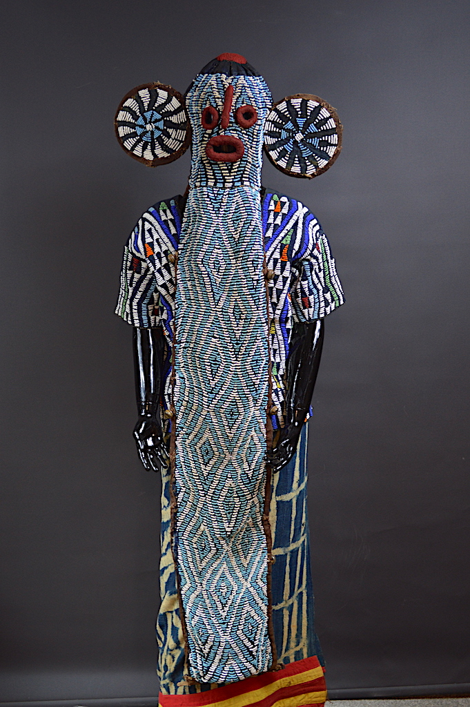 Bamileke beaded elephant mask Kuosi society